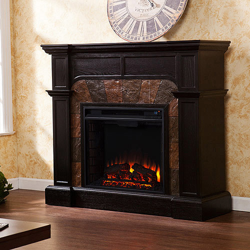 **NEW** Southern Enterprises Barkley Convertible Electric Fireplace, Ebony Stain