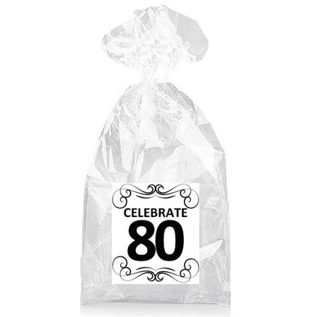 Elegant Celebrate 80th Birthday  Party Favor Bags with Ties - - Elegant Party Favors