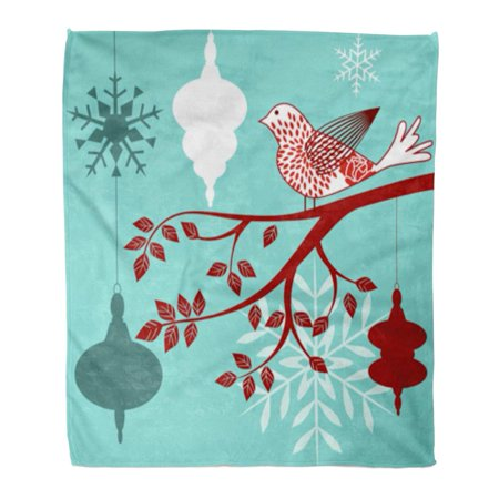 KDAGR Flannel Throw Blanket Blue Vintage Red and White Bird Branch Baubles Snowflakes Christmas Copyspace on Modern 58x80 Inch Lightweight Cozy Plush Fluffy Warm Fuzzy Soft