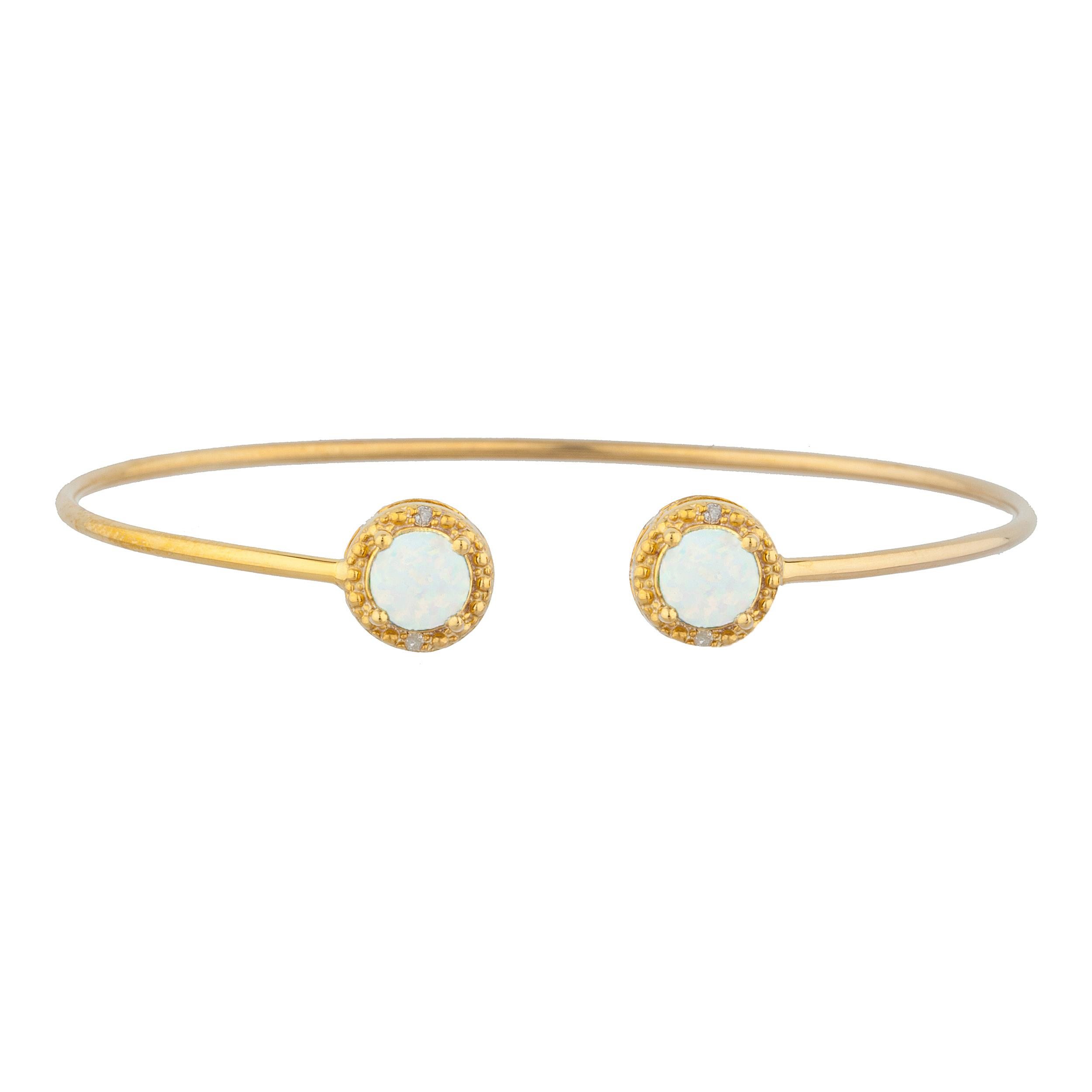 14Kt Yellow Gold Plated Opal & Diamond Round Bangle Bracelet by Elizabeth Jewelry Inc