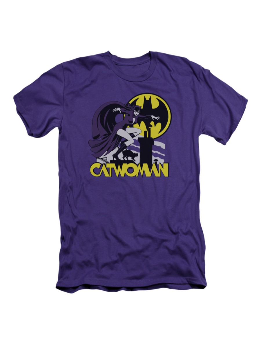 DC Comics Rooftop Catwoman Adult Slim T-Shirt Tee