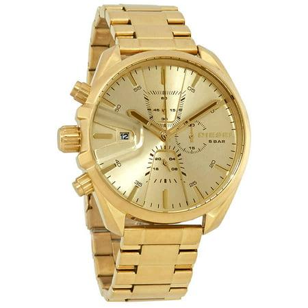 Diesel MS9 Chronograph Quartz Gold Sunray Dial Men's Watch (Quartz Chronograph White Dial)