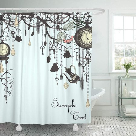 PKNMT Alice Tea Party Vintage Clock Key Tree Silhouette Chain Victorian Branch Shower Curtain Bath Curtain 66x72 inch (Shower Curtain Chains)