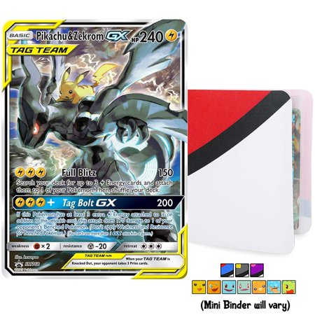 Pikachu & Zekrom GX Tag Team SM168 - Ultra Rare Foil Holo with Totem World Card Protector Mini Binder Collectors Album - Compatible with Pokemon Cards - Sun and Moon Team Up Black Star Promos 1st Wave Collectors Tin