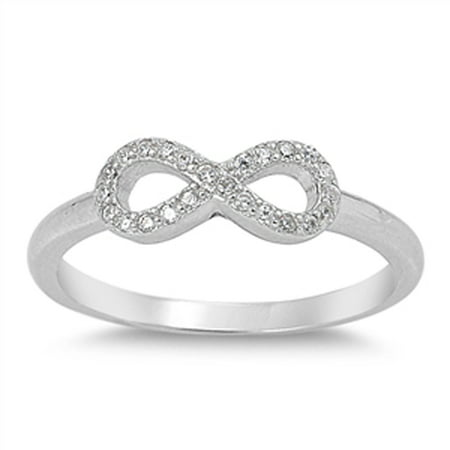 Girl Simple Infinity Clear CZ Cute Ring ( Sizes 5 6 7 8 9 10 ) New .925 Sterling Silver Band Rings by Sac Silver (Size 10)
