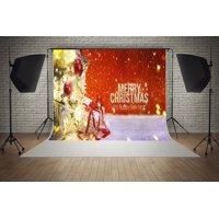 HelloDecor Polyester Fabric 7x5ft Merry Christmas Happy New Year Red Theme Party Decorations Photo Booth Background Photography Backdrop
