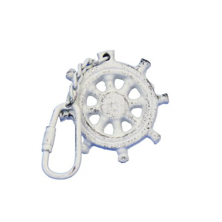 Whitewashed Cast Iron Ship Wheel Key Chain 5