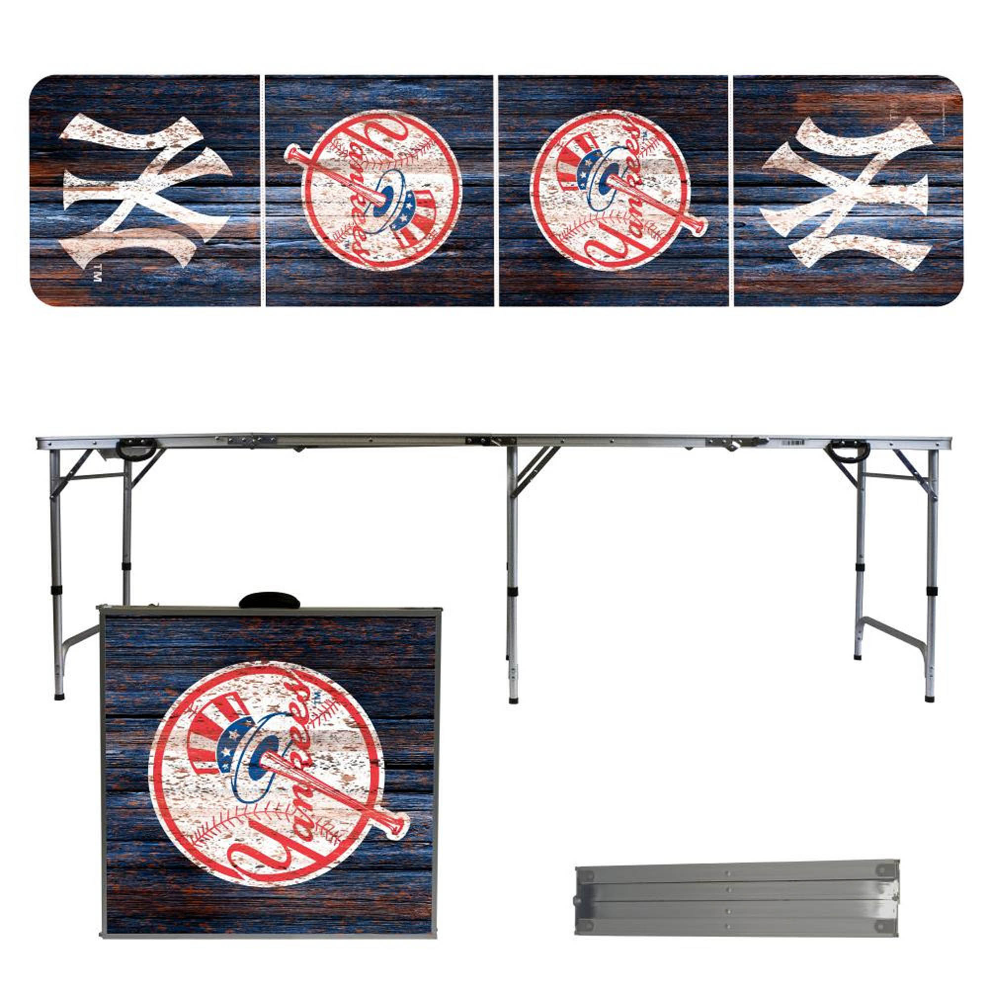 New York Yankees Weathered Design 8' Portable Folding Tailgate Table - No Size
