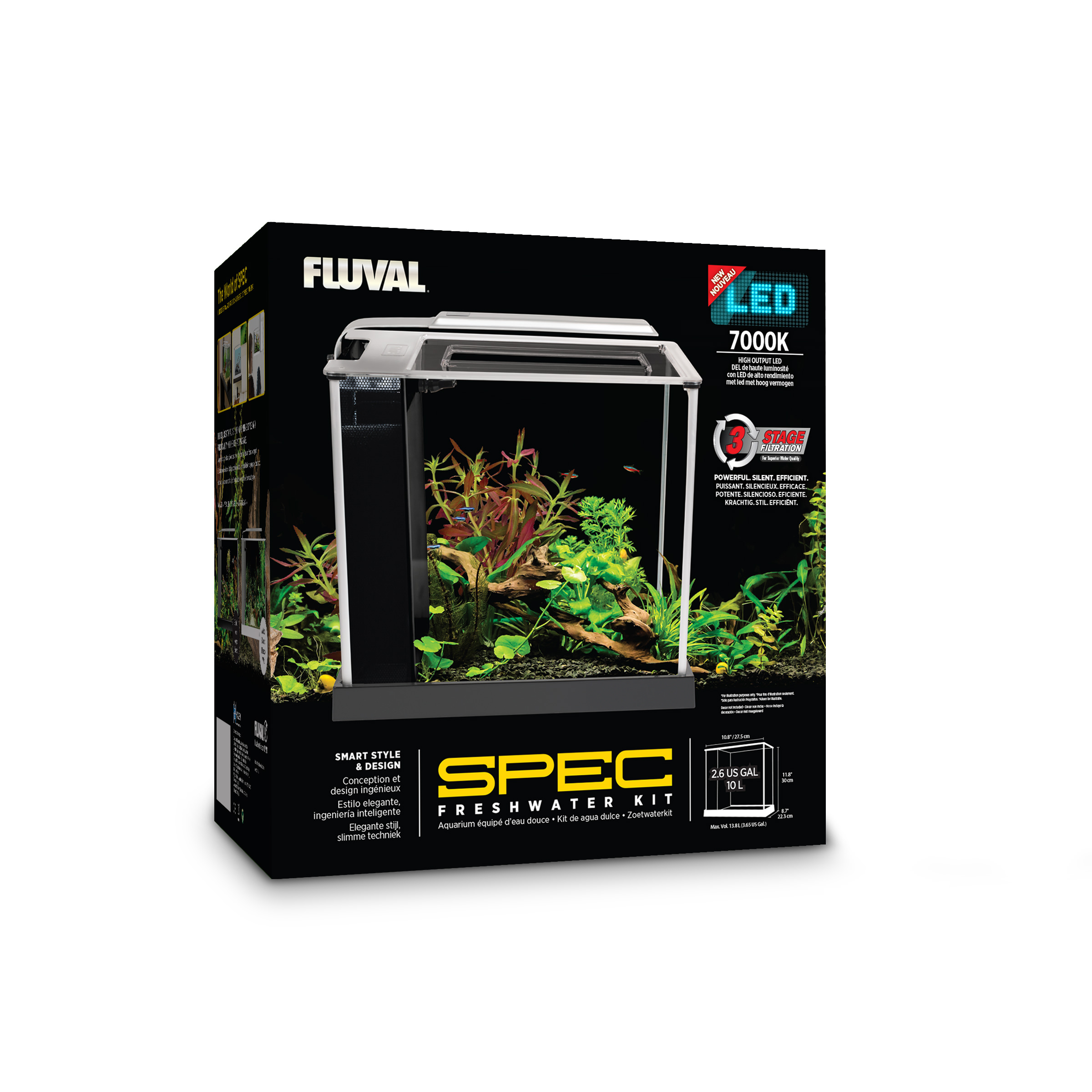 Fluval 2.6-Gallon Spec III Aquarium Starter Kit, White