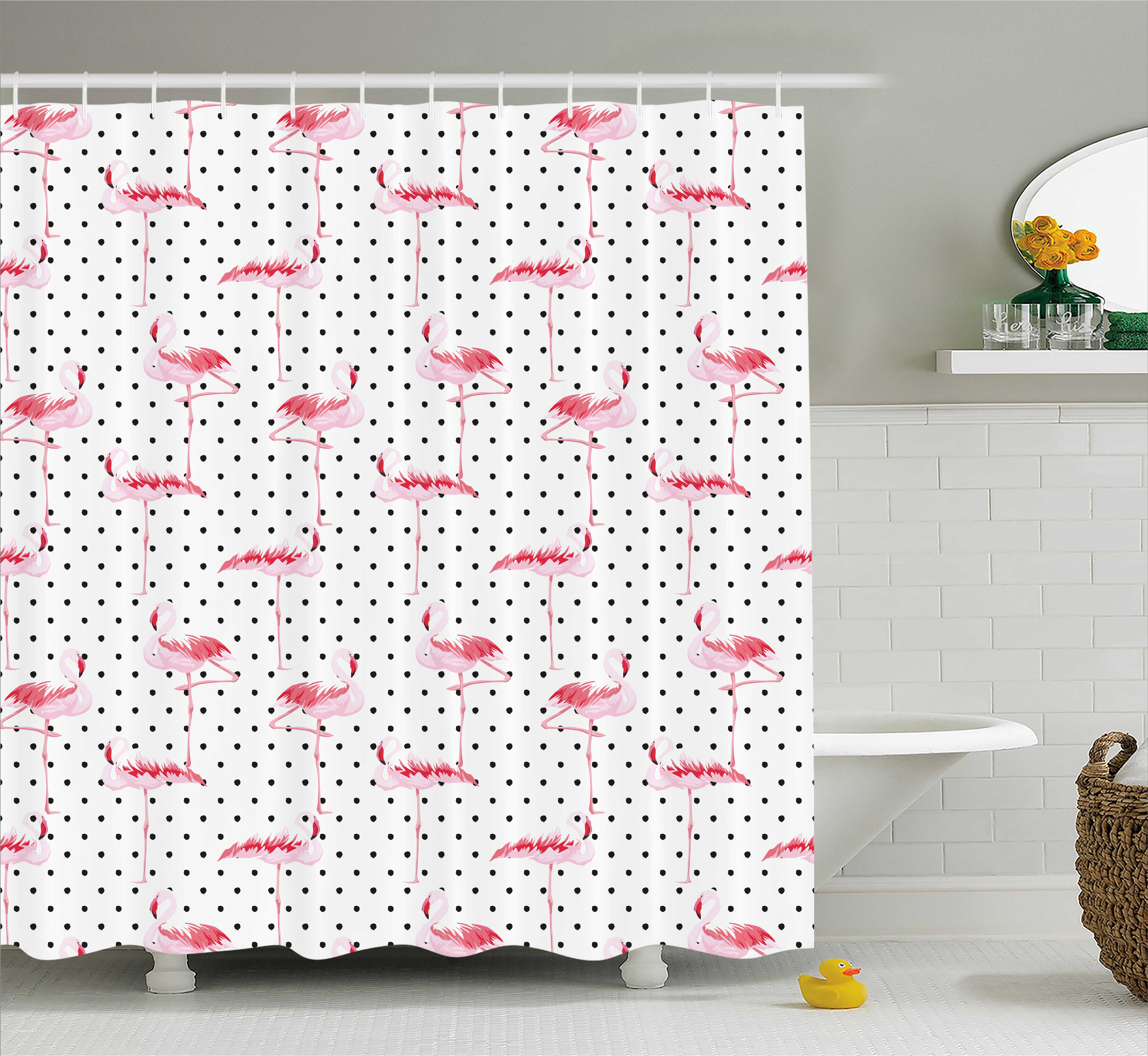 Retro Shower Curtain, Flamingo Birds on Minimalist Stylized Polka Dots Background Lovely Illustration, Fabric Bathroom Set with Hooks, 69W X 75L Inches Long, Pale Pink White, by Ambesonne