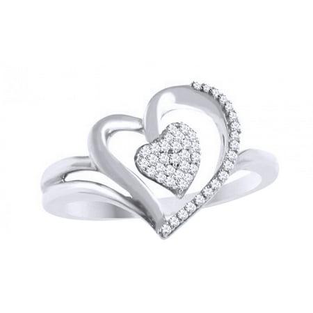 ab29a6e3747738 Jewel Zone US - White Natural Diamond Heart Promise Ring In 10k White Gold  - Walmart.com