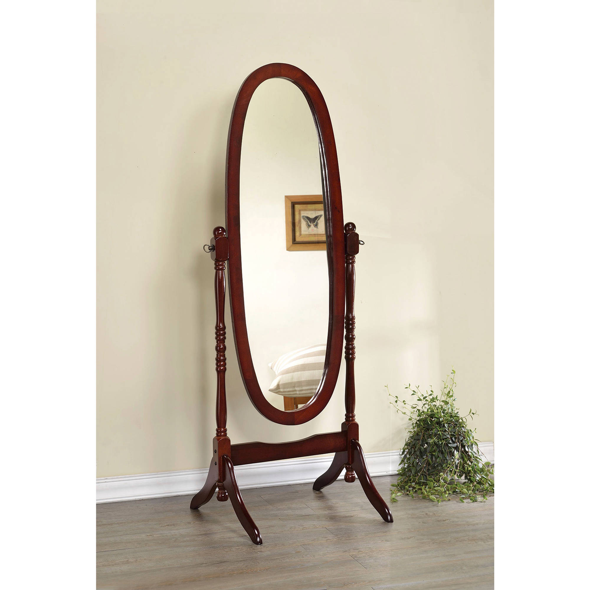 "Mirror - 59""H / Walnut Oval Wood Frame"