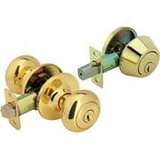 Legend Decorative Knob Combination Entry And Deadbolt Lockset Polished Brass