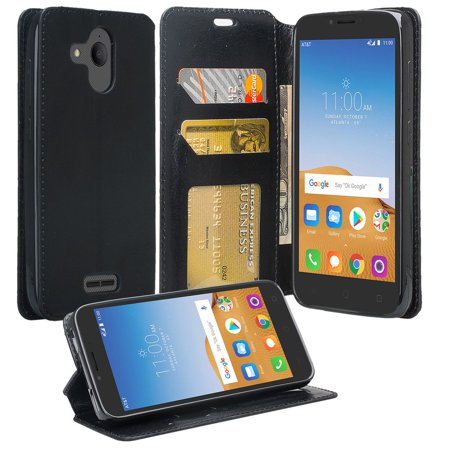 For Alcatel Tetra 5041C - Wydan Leather Wallet Style Case Folio Flip  Foldable Kickstand Credit Card Cover - Black