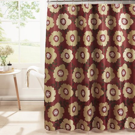 DioneᅡᅠDiamond Weave Textured Shower Curtain with Metal Roller Hooks