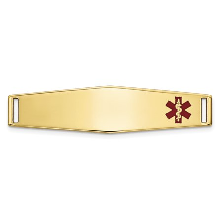 14k Yellow Gold Epoxy Enameled Medical Alert Id Off Ctr Soft Plate # 817 Bracelet Fine Jewelry Gifts For Women For Her - image 6 of 6