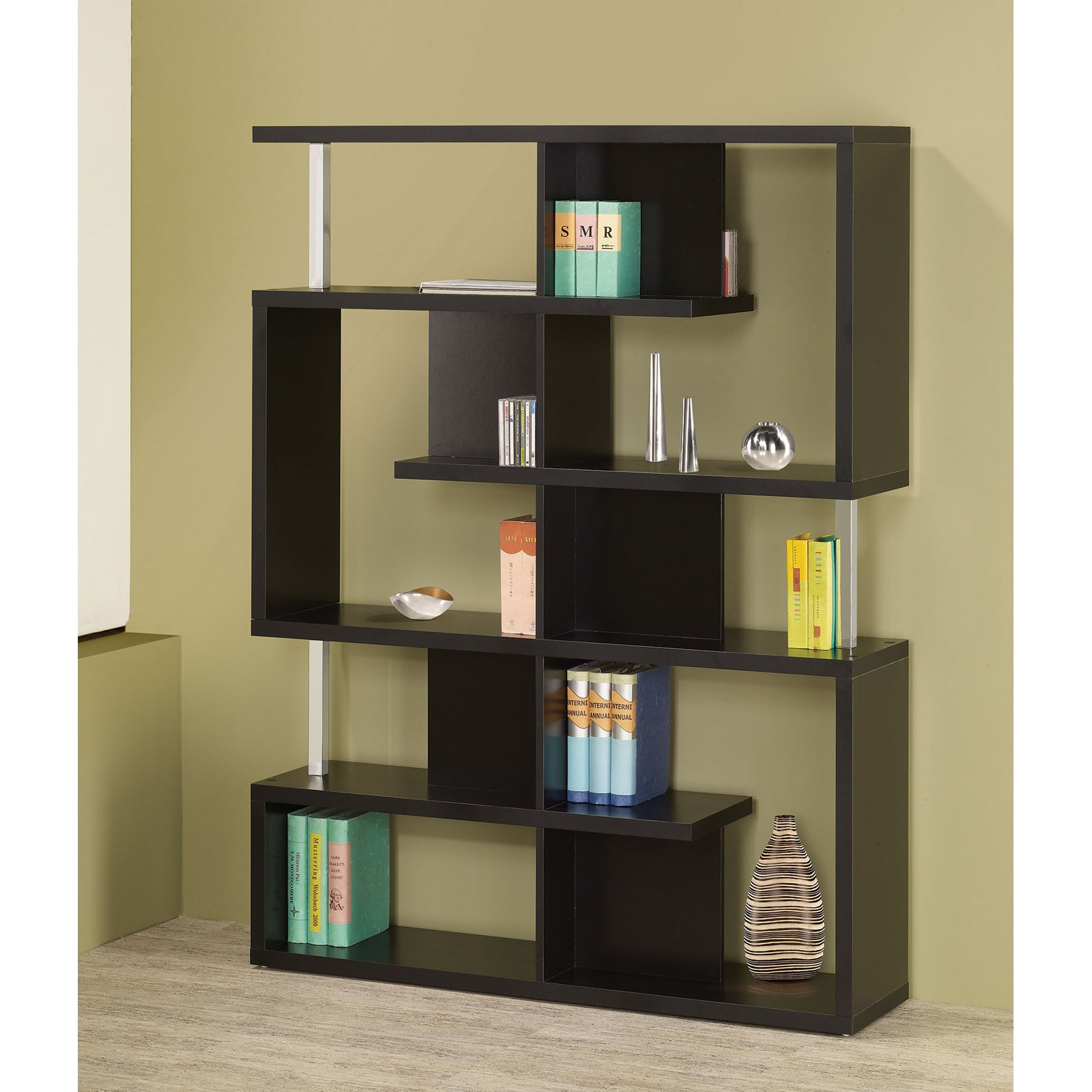 Coaster Company Bookcase, Black and Chrome
