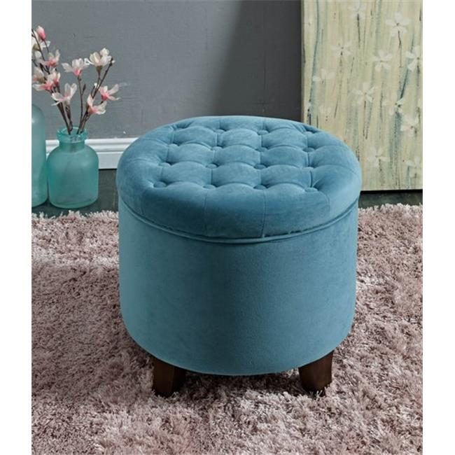 Kinfine K6171-B122 Large Round Button-tufted Storage Ottoman by Kinfine