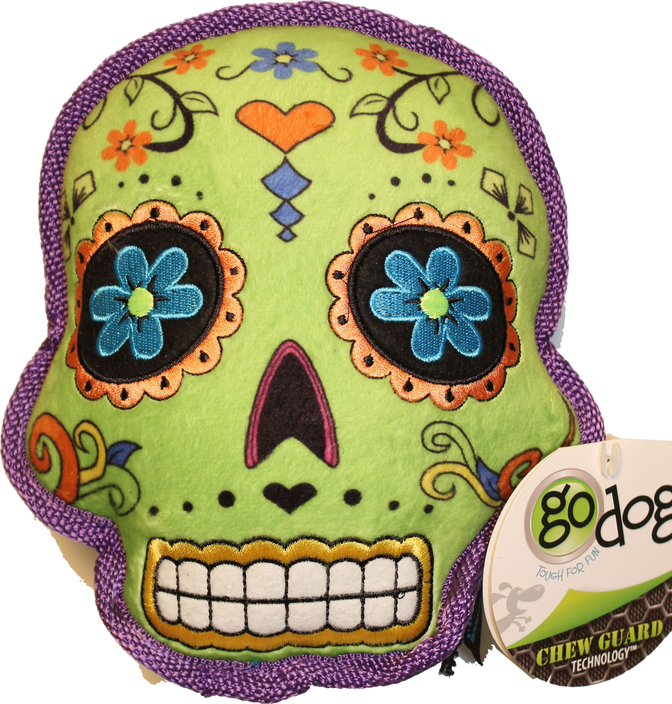 goDog® Sugar Skulls with Chew Guard Technology™ Squeaker Dog Toy, Large, Green