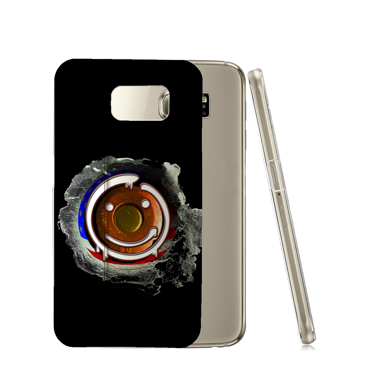 KuzmarK™ Samsung Galaxy S6 Clear Cover Case - Happy Face American Flag Bullet