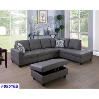 Lifestyle Furniture LSF09516B 3 Piece Right Facing Sectional Sofa Set with Ottoman, Faux Leather - Dark Grey