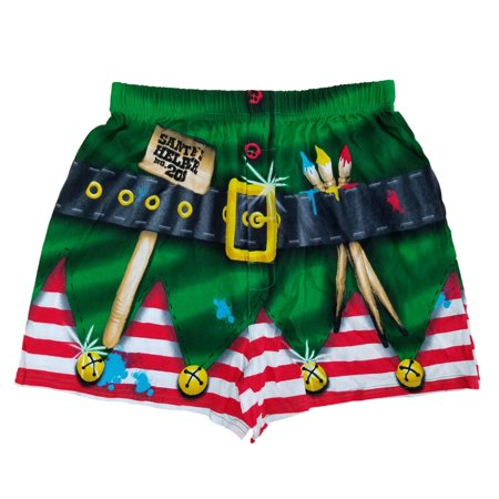 Mens Santa's Helper Christmas Elf Holiday Costume Boxer Shorts (Santa Shorts)