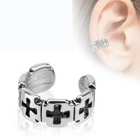 Cotton Non Iron French Cuff (Iron Cross Pattern Non-Piercing Ear Cuff )