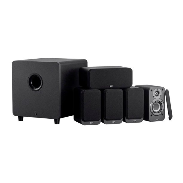 Monoprice HT-35 Premium 5.1-Channel Home Theater System - Charcoal, With Powered Subwoofer, Low Profile Speaker Grilles, Secure Mounting Option