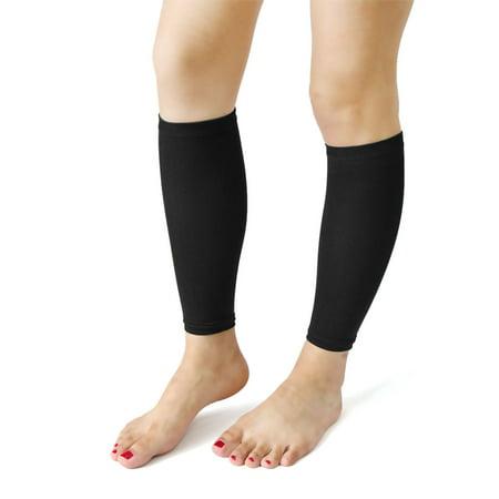 7891c9813c Black Footless Women Slimming Shin Calf Compression Sleeve Socks Leg Shaper  Pair - Walmart.com