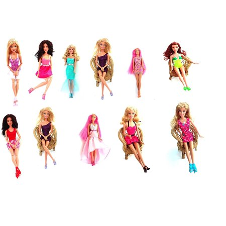 Doll Clothes & Shoes Fits Barbie Dolls 5 Outfits & 10 Pair of Shoes Assorted