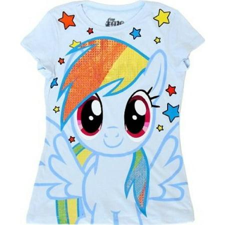 My Little Pony Rainbow Dash Sparkle Hair Youth Light Blue T-Shirt - Rainbow Dash Light