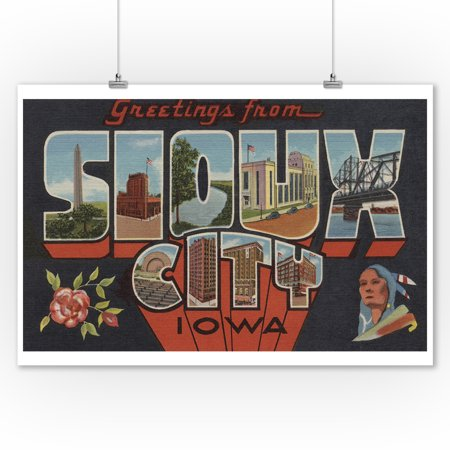 Sioux City, Iowa - Large Letter Scenes (9x12 Art Print, Wall Decor Travel Poster)](Sioux Shop)
