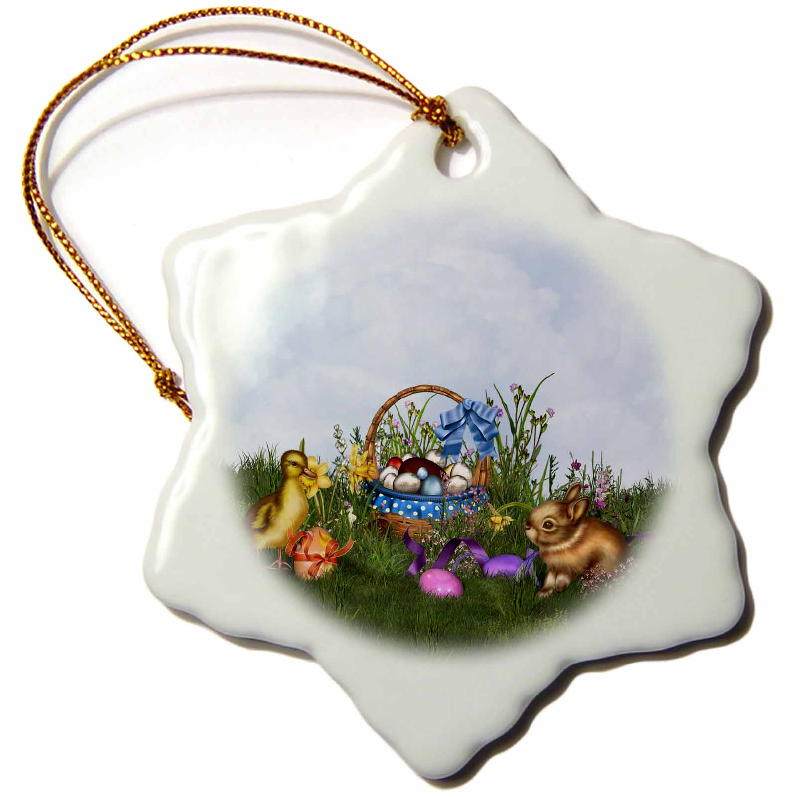 3dRose  The Easter bunny sitting in the meadow with Easter basket and chicken, Snowflake Ornament, Porcelain, 3-inch