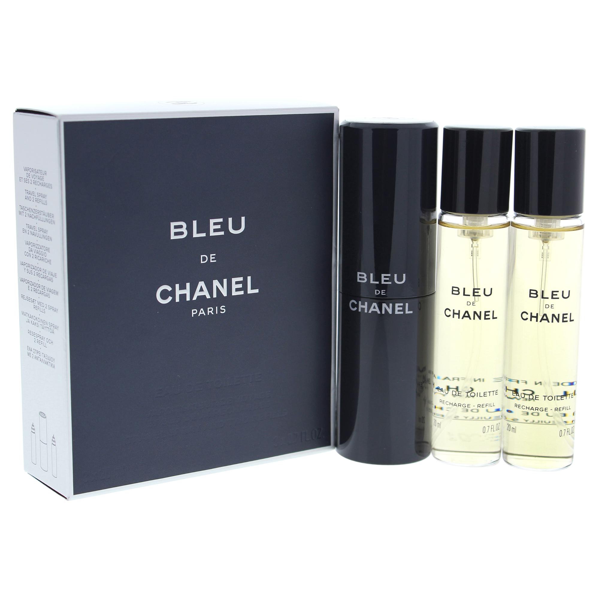 Bleu De Chanel by Chanel for Men - 3 x 0.7 oz EDT (Refills Travel Spray)