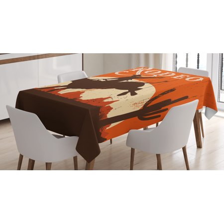 Vintage Tablecloth, Rodeo Cowboy Riding Bull Wooden Old Sign Western Wilderness at Sunset, Rectangular Table Cover for Dining Room Kitchen, 52 X 70 Inches, Vermilion Redwood Cream, by Ambesonne