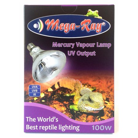 Watt Mercury Vapor Security Light - Mega Ray Mercury Vapor Bulb - MegaRay 100 Watts Reptile UVB UVA Bulb
