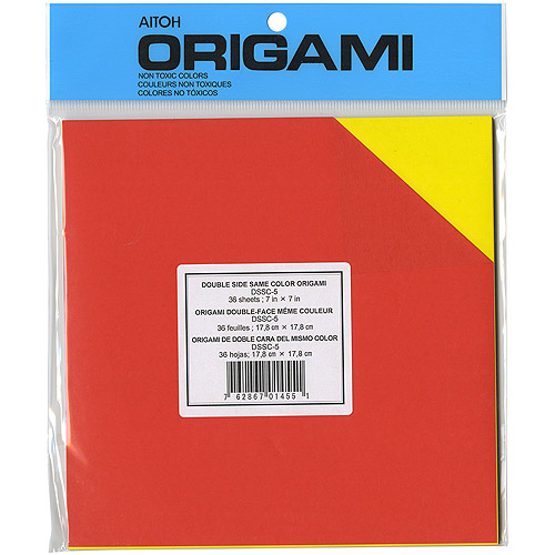 "Origami Paper 7"" x 7"", 36pk, Assorted Colors Double-Sided"