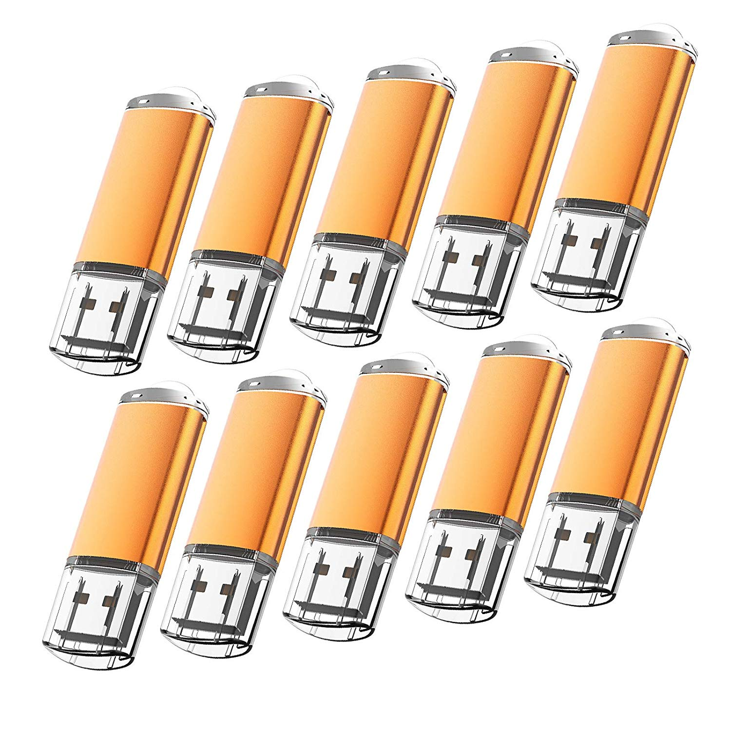KOOTION 10Pack 1GB USB Flash Drive Memory Stick Fold Storage Thumb Pen Drive Swivel, Orange