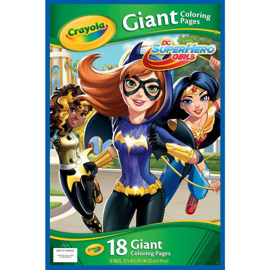 Crayola Giant Coloring Pages Featuring Dc Girl Superheroes, 18 Count