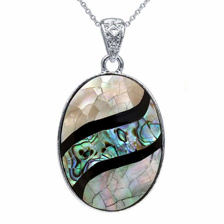 Beautiful Multicolor Abalone Shell Oval Pendant 42X32mm With 18 Inch Chain