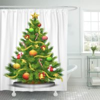 PKNMT Green Xmas of Decorated Christmas Tree Red Light Fir Shower Curtain 60x72 inches