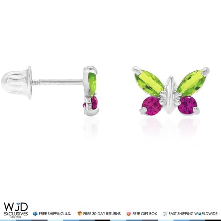 Butterfly Rugby (14K Solid White Gold Peridot & Ruby Butterfly Baby Screwback Stud Kid)