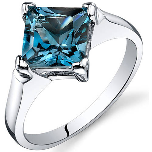 Oravo 2.00 Carat T.G.W. London Blue Topaz Rhodium-Plated Sterling Silver Engagement Ring
