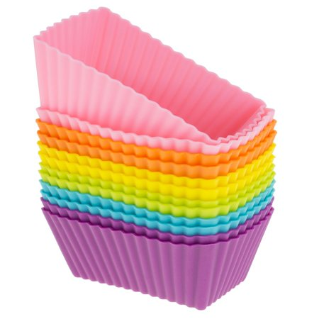 CB-308SC 12-Pack Silicone Mini Rectangle Reusable Cupcake and Muffin Baking Cup, Six Vibrant Colors, Flexible and Non-Stick. Baked Goods Pop Out Easily. Reusable.., By Freshware - Halloween Baking Goods