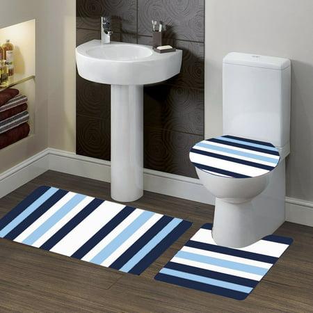 3 Pc 7 Stripe Navy Blue High Quality Jacquard Bathroom