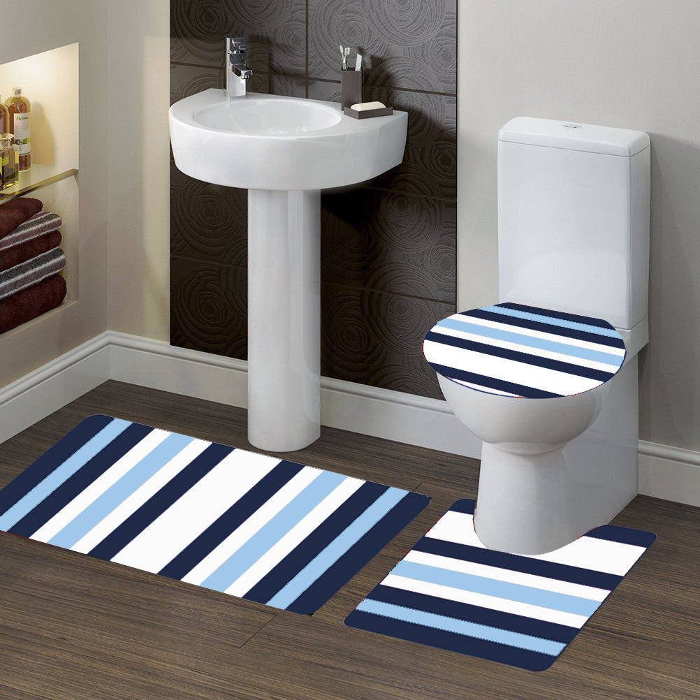 """3-PC (#7) Stripe Navy Blue HIGH QUALITY Jacquard Bathroom Bath Rug Set Washable Anti Slip Rug 18""""x28"""", Contour Mat 18""""x18"""" and Toilet Seat Lid Cover 18""""x19"""" with Non-Skid Rubber Back"""