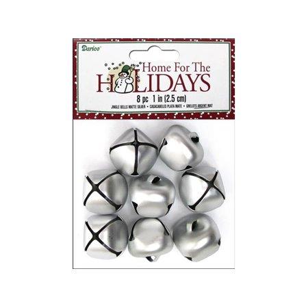 - Darice Jingle Bells 25mm Matte Silver 8pc