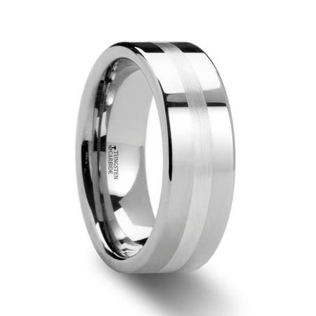 Palladium Oval Ring - Letholdus Palladium Inlaid Flat Tungsten Ring