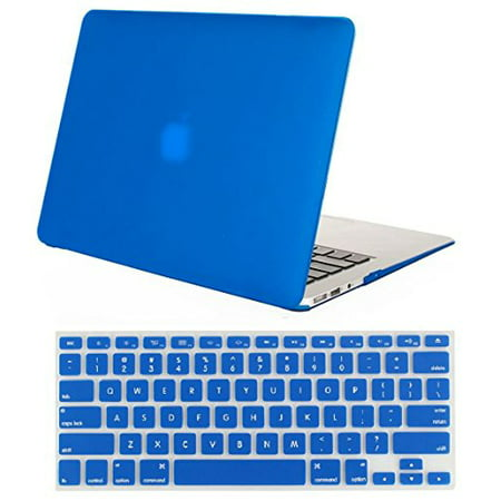 Mosiso Plastic Hard Cover Case for MacBook Air 13 inch No Touch ID (Models: A1369 &A1466,2010-2017)With Keyboard Cover,BLUE ()