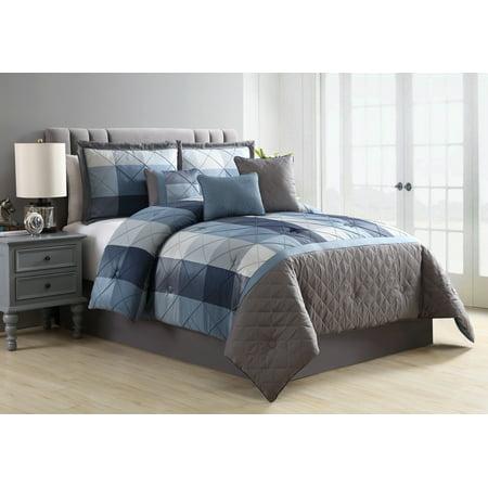 Better Homes and Gardens Elliot Plaid Soft Textured 7-Piece Comforter Set, King, Navy